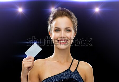 улыбающаяся женщина вечернее платье Diamond люди праздников Рождества Сток-фото © dolgachov