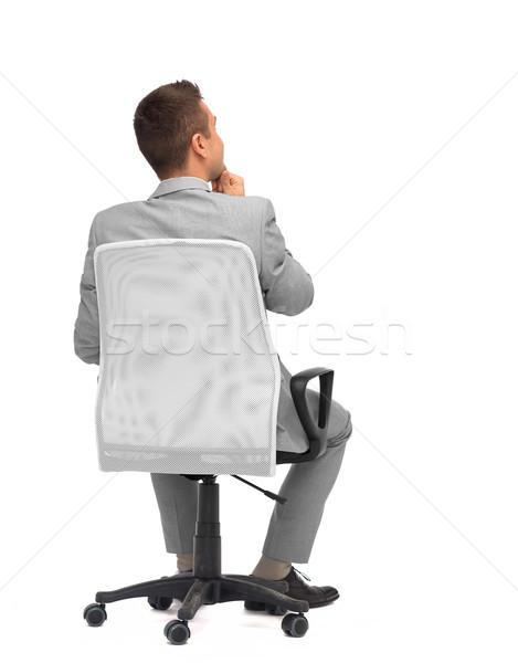 бизнесмен сидят офисные кресла назад деловые люди мебель Сток-фото © dolgachov