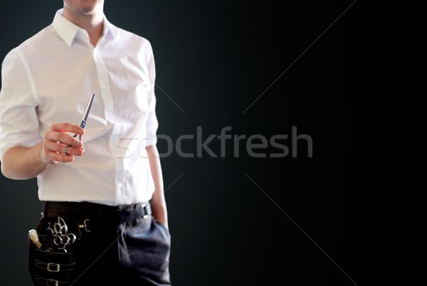 Közelkép férfi stylist olló fekete szépség Stock fotó © dolgachov