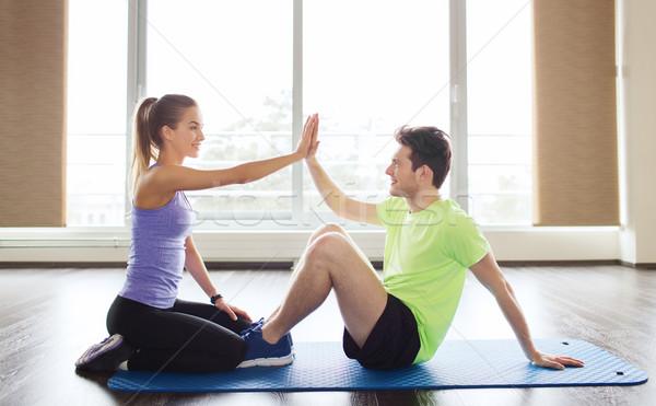Stok fotoğraf: Adam · personal · trainer · oturmak · spor · salonu · uygunluk · spor