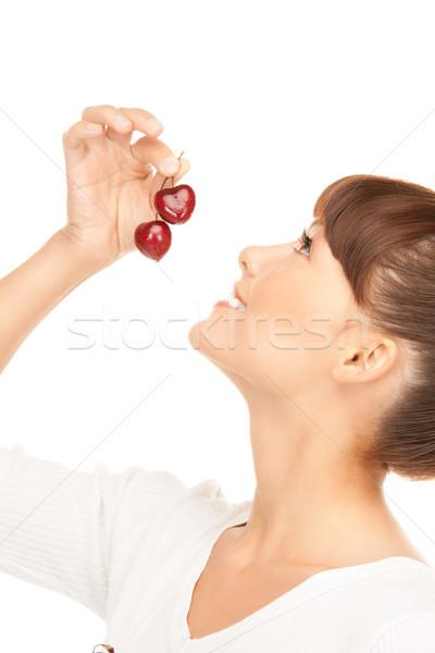 ストックフォト: 女性 · チェリー · 画像 · 白 · 食品 · 幸せ