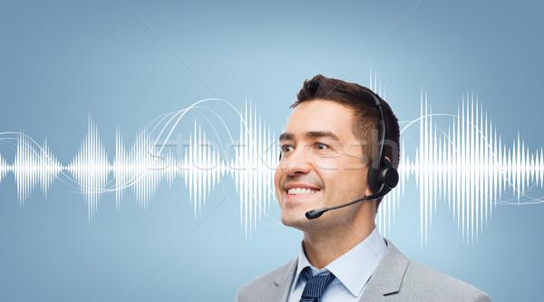 бизнесмен гарнитура звуковая волна диаграмма деловые люди технологий Сток-фото © dolgachov
