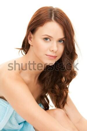 Stock foto: Frau · Handtuch · hellen · Bild · weiß · Gesicht