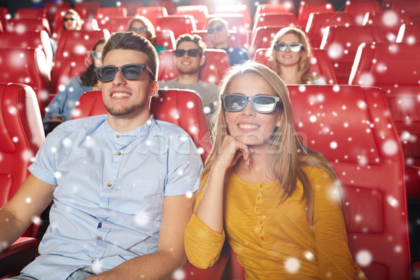 happy couple watching movie in 3d theater Stock photo © dolgachov