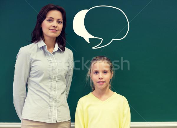 Kicsi iskolás lány tanár iskolatábla oktatás általános iskola Stock fotó © dolgachov