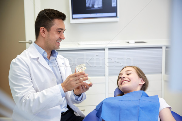 happy dentist showing jaw layout to patient girl Stock photo © dolgachov