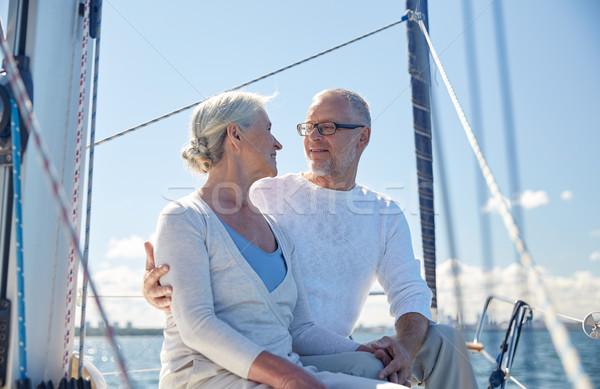 Casal de idosos velejar barco iate mar Foto stock © dolgachov
