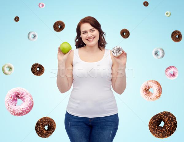 ストックフォト: 幸せ · プラスサイズ · 女性 · リンゴ · クッキー