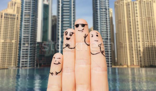 Dita facce gesto famiglia Foto d'archivio © dolgachov