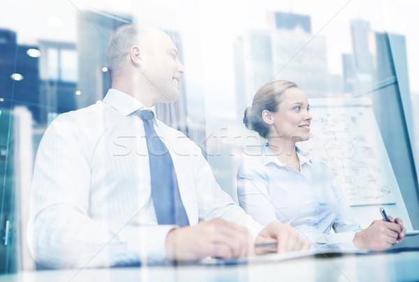 Lächelnd Geschäftsleute Sitzung Büro Konferenz Business-Team Stock foto © dolgachov
