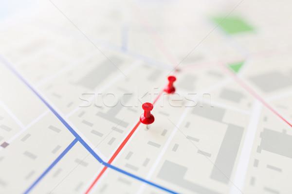 Mapa ciudad plan pin cartografía Foto stock © dolgachov