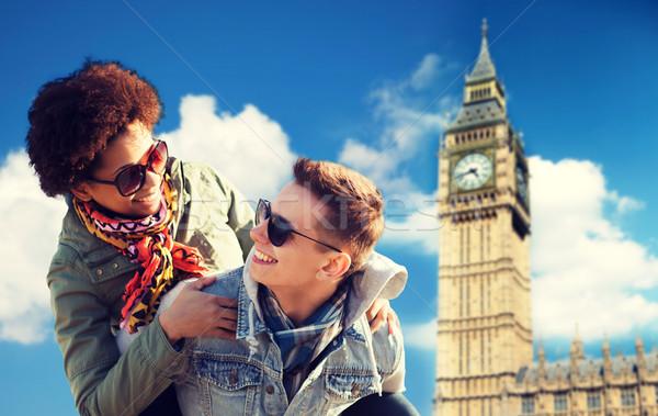 幸せ 十代の カップル ビッグベン 塔 ストックフォト © dolgachov