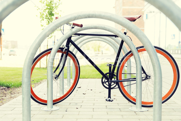 Stock photo: close up of fixed gear bicycle at street parking