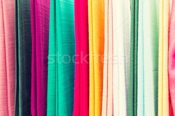 красочный текстильной азиатских улице рынке торговых Сток-фото © dolgachov