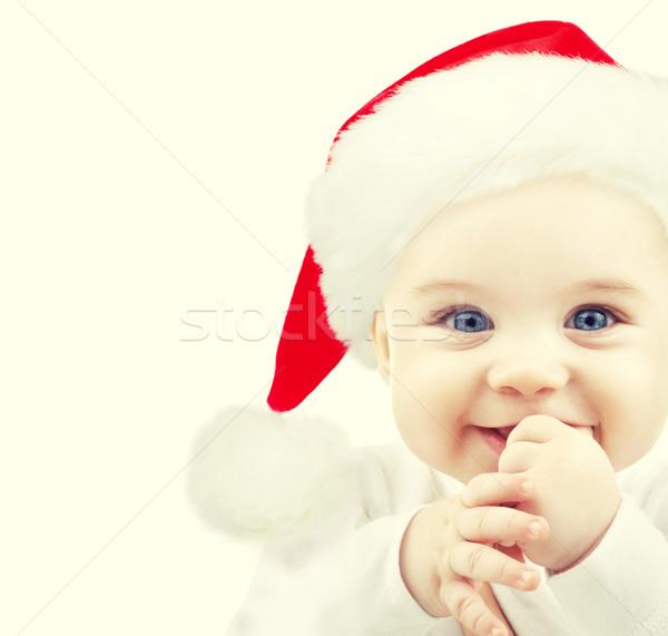 happy baby in santa hat Stock photo © dolgachov