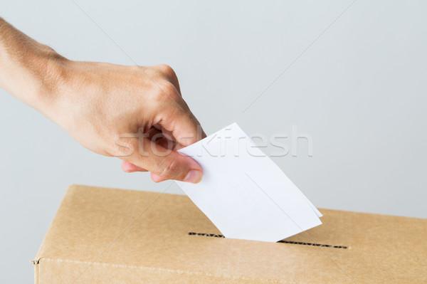 Adam oy oylama kutu seçim Stok fotoğraf © dolgachov