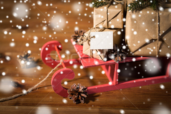 Christmas prezenty Uwaga sanie wakacje Zdjęcia stock © dolgachov