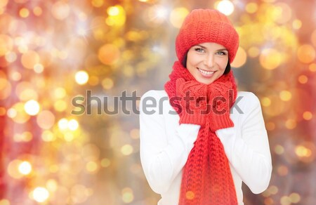beautiful sexy woman in santa hat with fairy dust Stock photo © dolgachov
