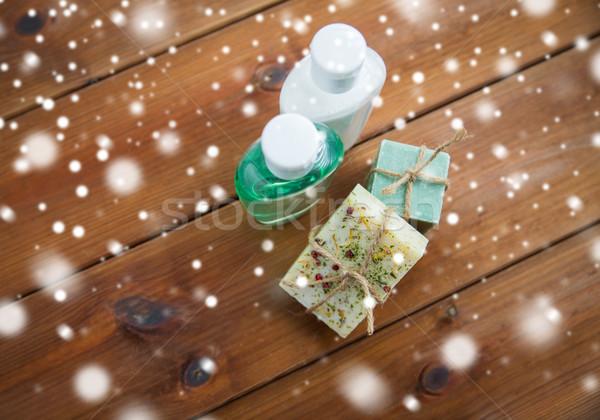 Kézzel készített szappan rácsok fa szépségszalon testápoló Stock fotó © dolgachov