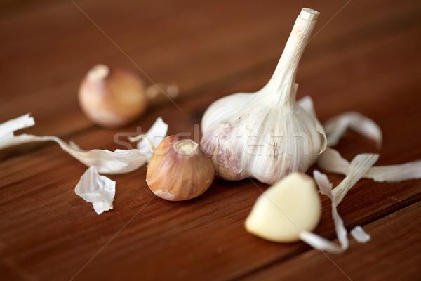 Aglio tavolo in legno salute alimentare cottura Foto d'archivio © dolgachov