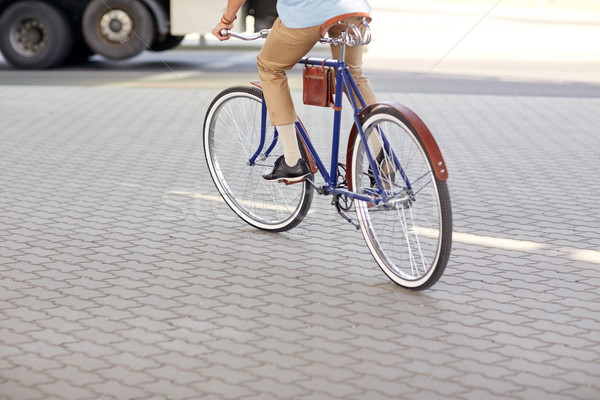 Stock photo: hipster man riding fixed gear bike