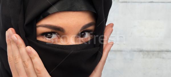 Moslim vrouw hijab religieuze mensen Stockfoto © dolgachov