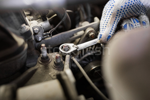 mechanic man with wrench repairing car at workshop Stock photo © dolgachov