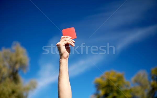 Hakem eller kırmızı kart futbol sahası spor Stok fotoğraf © dolgachov