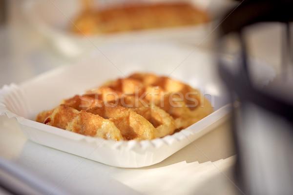 вафельный бумаги пластина продовольствие десерта Сток-фото © dolgachov