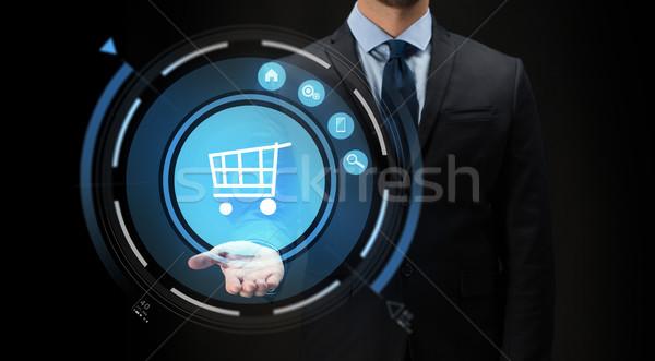 Zakenman virtueel winkelwagen projectie business ecommerce Stockfoto © dolgachov