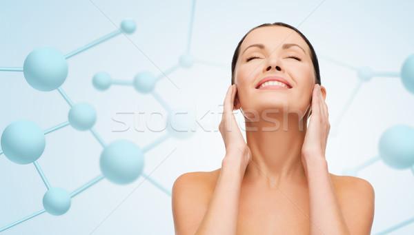 Schönen Gesicht Moleküle Schönheit Menschen Stock foto © dolgachov