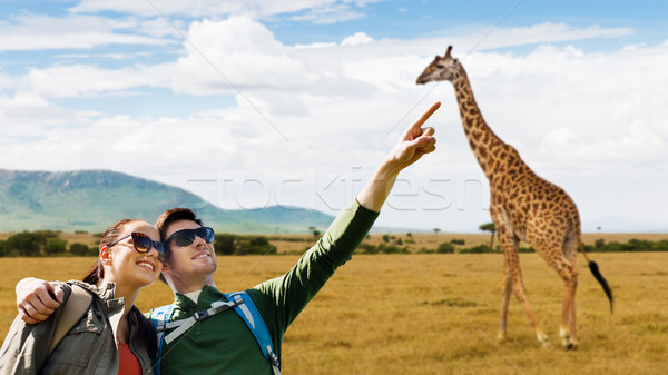 happy couple with backpacks traveling in africa Stock photo © dolgachov