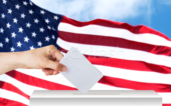 hand of american with ballot and box on election Stock photo © dolgachov