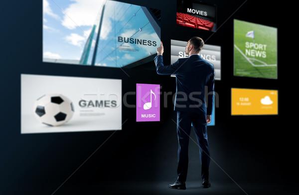 Empresário trabalhando virtual aplicações pessoas de negócios tecnologia Foto stock © dolgachov