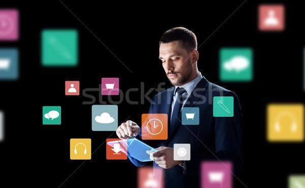 ビジネスマン バーチャル メニュー アイコン ビジネスの方々 ストックフォト © dolgachov