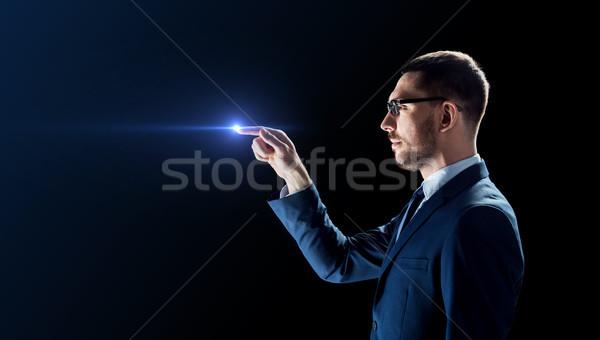 Işadamı gözlük lazer ışık siyah iş adamları Stok fotoğraf © dolgachov