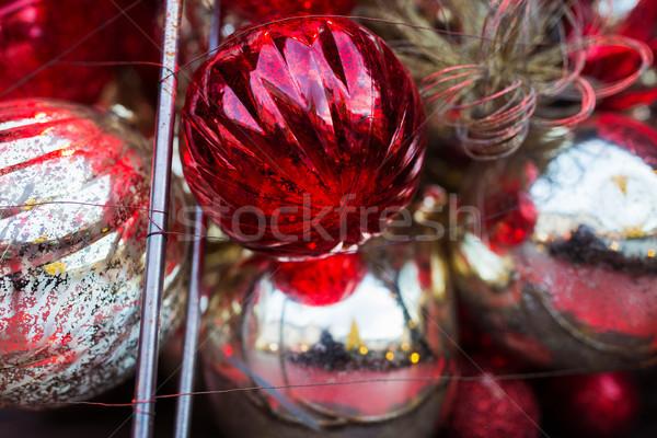 close up of christmas tree toys and balls  Stock photo © dolgachov
