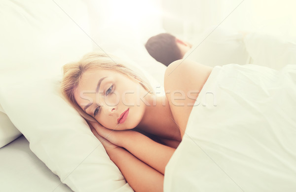 Stock photo: young woman suffering from insomnia