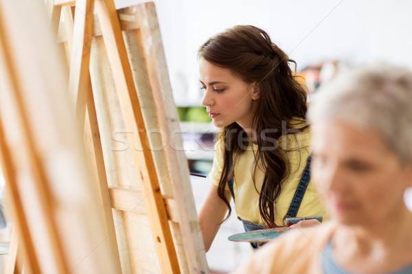 студент девушки мольберт Живопись искусства школы Сток-фото © dolgachov