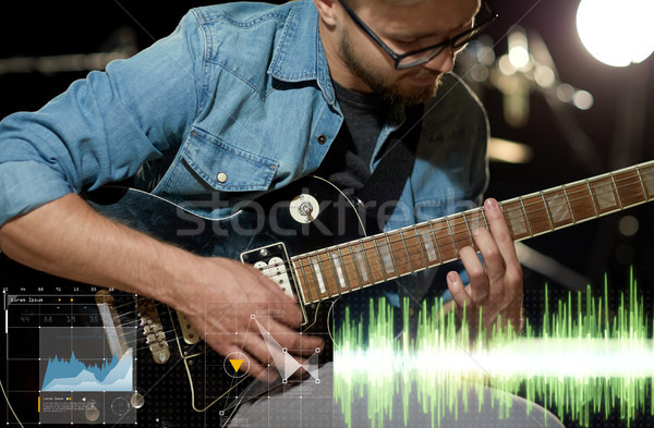 Muzikant spelen gitaar studio muziek Stockfoto © dolgachov