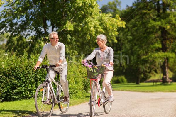 Boldog idős pár lovaglás biciklik nyár park Stock fotó © dolgachov