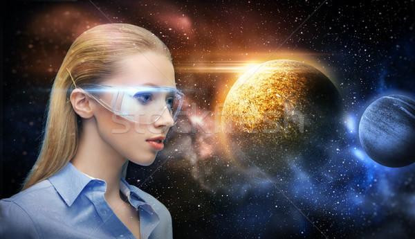 女性 バーチャル 現実 眼鏡 スペース 将来 ストックフォト © dolgachov