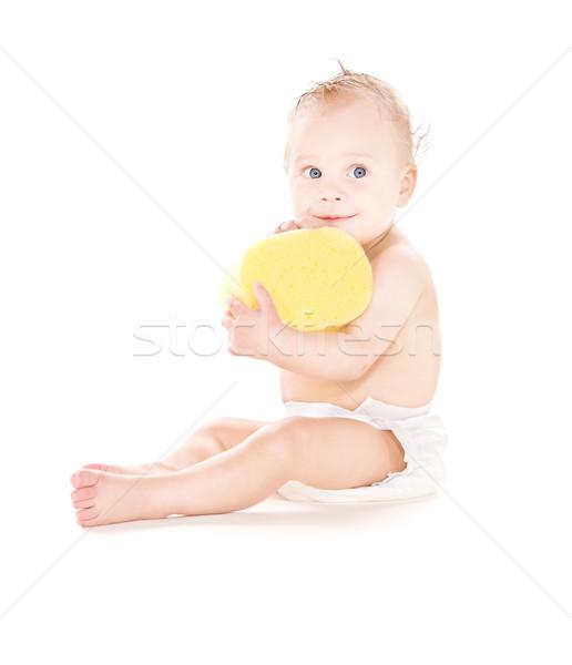 Stok fotoğraf: Bebek · erkek · sünger · resim · beyaz · çocuk