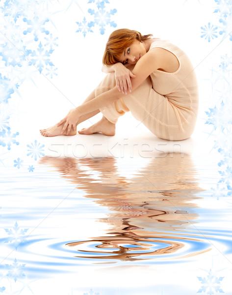 relaxed lady on white sand Stock photo © dolgachov