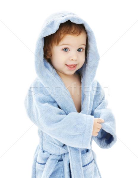 Baby jongen Blauw gewaad witte kind Stockfoto © dolgachov