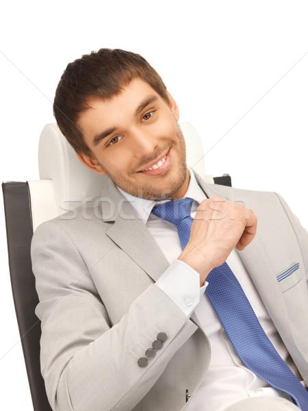 Stok fotoğraf: Genç · işadamı · oturma · sandalye · resim · iş