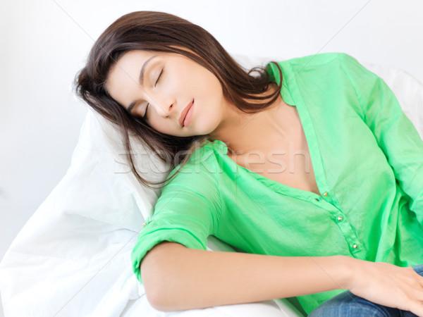 Alszik nő otthon kép szemek női Stock fotó © dolgachov