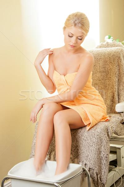 Foto stock: Mulher · estância · termal · salão · pedicure · bela · mulher · corpo