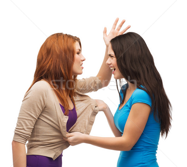 Foto d'archivio: Due · adolescenti · lotta · amicizia · persone