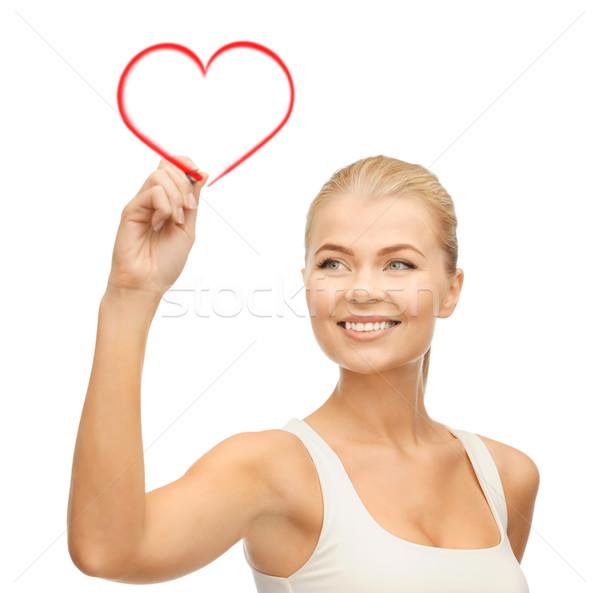 Nő fehér póló ír levegő boldogság Stock fotó © dolgachov